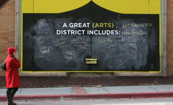 Steve Griffin | The Salt Lake Tribune Three, 8-foot chalkboards have been erected on Regent Street between 100 and 200 South in Salt Lake City, asking the public to complete the following sentences: -I hope the new Performing Arts Center will... -A great arts district includes... -The best thing about this area is... It is the site of an urban intervention exercise aimed at gathering input on the new Utah Performing Arts Center and the changes it will bring to downtown. All of the responses posted on the boards are being gathered and included in a widespread public engagement effort that will inform and shape upcoming decisions about the city's new performing arts venue. Wednesday October 24, 2012.