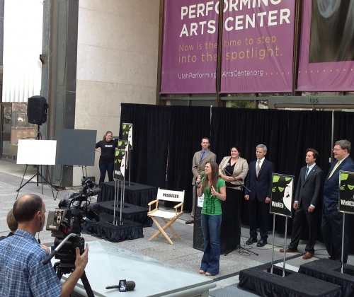 Carol Stickler (Wicked cast) performs before the architect announcement for the Utah Performing Art Center.