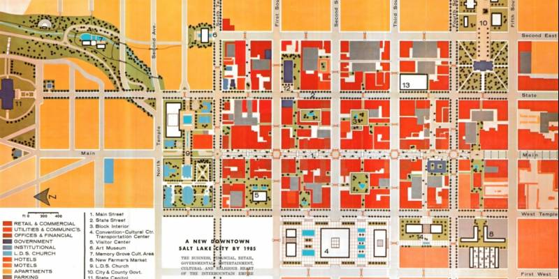 """1962 Plan for Downtown SLC: """"Easy to Reach—Easy to Park—Easy to Move About, The Pedestrian Paradise"""""""