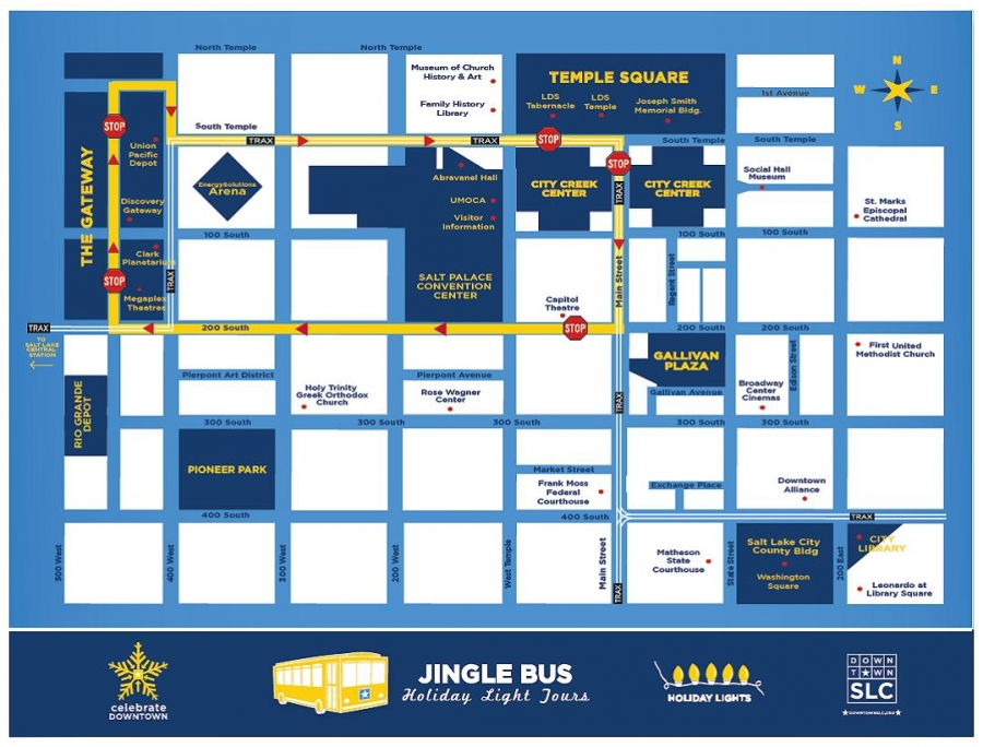 Downtown Alliance - Salt Lake City - Jingle Bus on salt lake city cemetery map, salt lake city parking map, salt lake city airport map, salt lake city utah map, salt lake city attractions, salt lake city tourist map, salt lake city grid map,